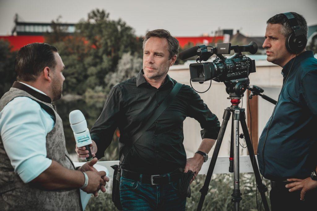 speaking to media